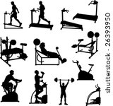 Male Exercise Vector Silhouettes