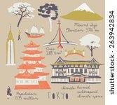 symbols of tokyo | Shutterstock .eps vector #263942834