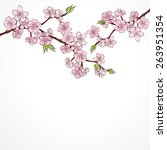 watercolor cherry branch with... | Shutterstock .eps vector #263951354