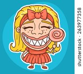 funny girl with candy sticker | Shutterstock .eps vector #263977358