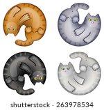 Stock vector set of funny cartoon circle cats 263978534