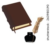 brown old leather book with... | Shutterstock .eps vector #263980190