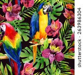watercolor parrots on a floral... | Shutterstock . vector #263986304