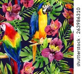 watercolor parrots on a floral... | Shutterstock . vector #263986310