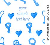 hearts and keys painted in... | Shutterstock .eps vector #264001766