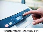 man holding finger on start... | Shutterstock . vector #264002144