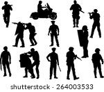 the set of  policeman silhouette | Shutterstock .eps vector #264003533