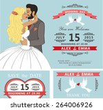 wedding invitation with cartoon ... | Shutterstock .eps vector #264006926