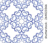 seamless doily watercolor... | Shutterstock . vector #264023366