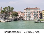 quay and bridge over canal and... | Shutterstock . vector #264023726