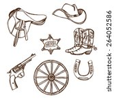 hand drawn wild west western... | Shutterstock .eps vector #264052586