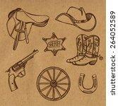 hand drawn wild west western... | Shutterstock .eps vector #264052589