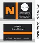 simple modern black orange... | Shutterstock .eps vector #264052760