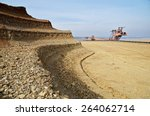 bunk wall excavated pit mine....   Shutterstock . vector #264062714