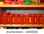 Jars Of Tomato Sauce On The...
