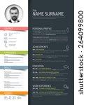 vector minimalist cv   resume...   Shutterstock .eps vector #264099800
