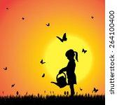 vector silhouette of a girl...   Shutterstock .eps vector #264100400