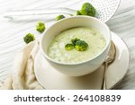 fresh broccoli soup with... | Shutterstock . vector #264108839