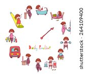 daily routine. vector set with... | Shutterstock .eps vector #264109400