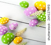 easter background with colorful ... | Shutterstock . vector #264127493