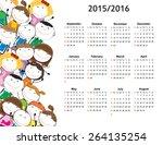 school calendar on new year... | Shutterstock .eps vector #264135254