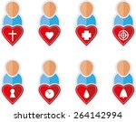 set of people flat symbols with ... | Shutterstock .eps vector #264142994