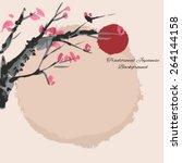 sakura cherry blossom... | Shutterstock .eps vector #264144158