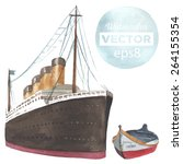 hand drawn watercolor steamboat ...   Shutterstock .eps vector #264155354