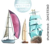 hand drawn watercolor sailboats ... | Shutterstock .eps vector #264155360