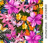seamless exotic pattern with... | Shutterstock .eps vector #264156800