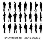 big set of black silhouettes of ... | Shutterstock . vector #264160319