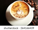 cup of latte art coffee with... | Shutterstock . vector #264166439