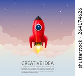 space rocket launch  creative... | Shutterstock .eps vector #264174626