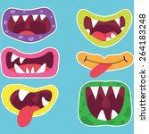 monster mouths set  | Shutterstock .eps vector #264183248