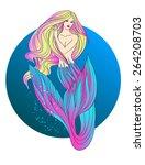 mermaid with blond hair. vector ... | Shutterstock .eps vector #264208703