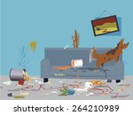 interior of a very messy room ... | Shutterstock .eps vector #264210989