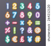 colorful paper alphabet numbers ... | Shutterstock .eps vector #264212120