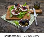 spanish food tapas  toast with... | Shutterstock . vector #264213299