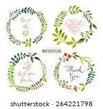 floral set with watercolor... | Shutterstock .eps vector #264221798