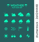 vector flat icon set   weather