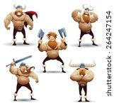 viking warrior set  vector  | Shutterstock .eps vector #264247154