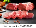 fresh and raw meat. sirloin... | Shutterstock . vector #264252083