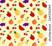 seamless pattern made of cute... | Shutterstock .eps vector #264256544