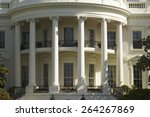 The pillars of the South Portico of the White House, the Truman Balcony, in Washington, DC on May 7, 2007, in preparation for the visit of Her Majesty Queen Elizabeth II and President George W. Bush