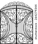 wrought iron gate  door  fence | Shutterstock .eps vector #264279344