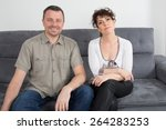 man and woman for the first... | Shutterstock . vector #264283253