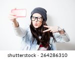 Pretty Hipster Girl Taking...