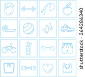 exercise fitness icons set | Shutterstock .eps vector #264286340