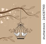 white doves in a cage vector... | Shutterstock .eps vector #264287900