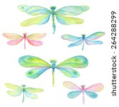 Stock vector collection of watercolor dragonflies 264288299